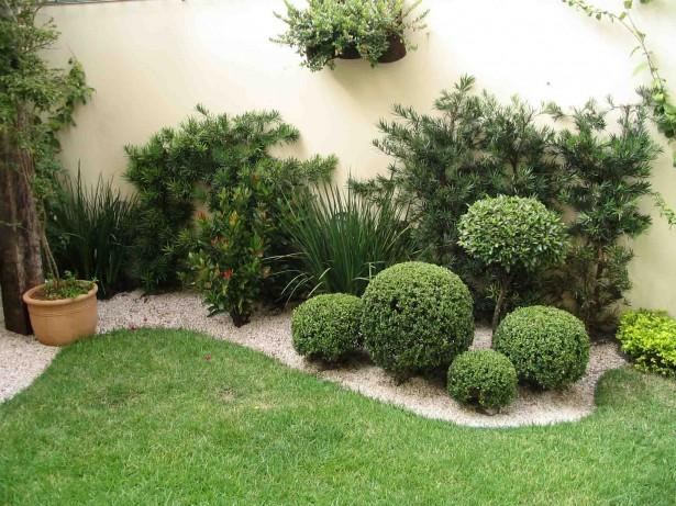 jardim com grama decorativa