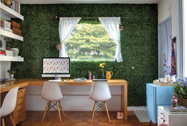 decoração grama sintética em ambientes diferentes
