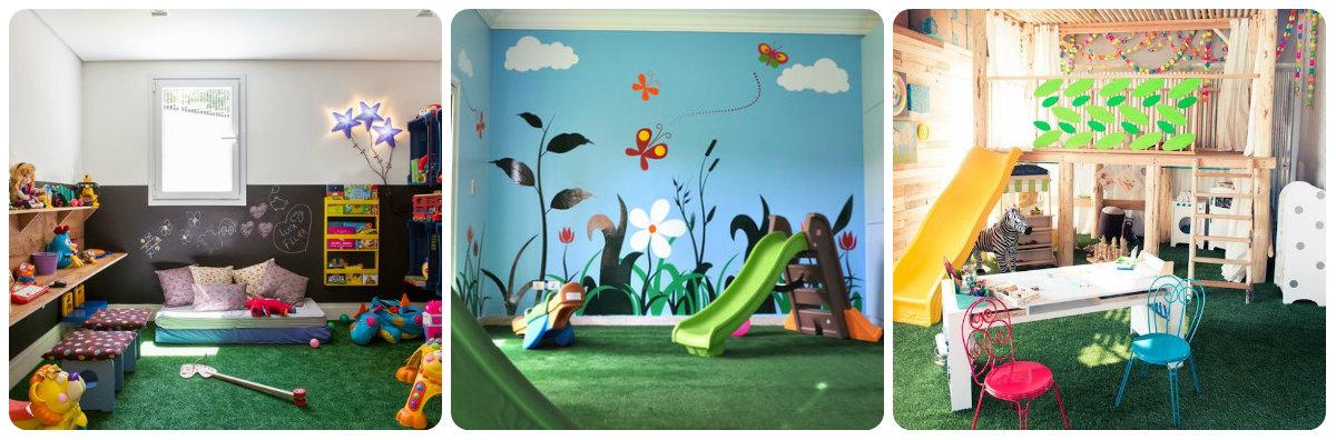 grama artificial decorativa em salas de jogos