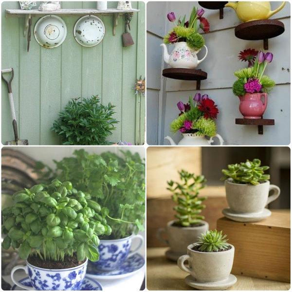 Decoração de jardim com itens domésticos