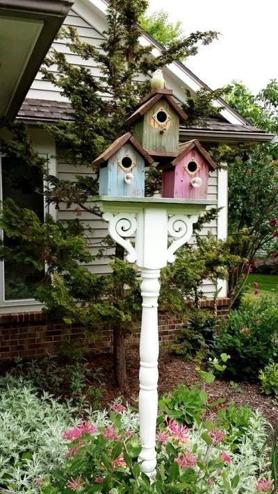casa de passarinho na decoração do jardim