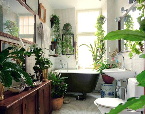 jardim dentro do banheiro