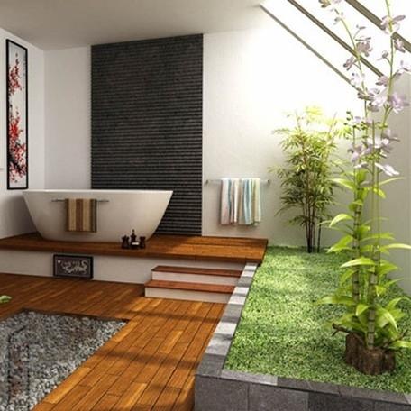 banheiro oriental decorado com plantas