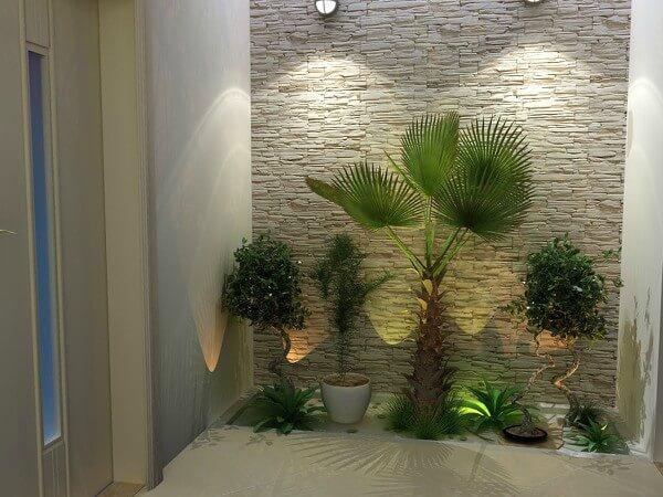 jardim de dentro de casa iluminado