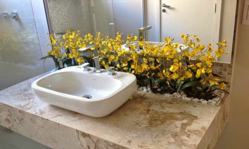 jardim na pia do banheiro
