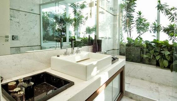 banheiro com jardim perto da janela