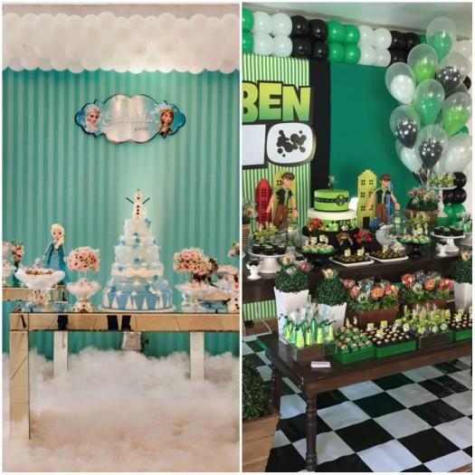Festas de aniversário com decoração temática do Frozen e Ben 10