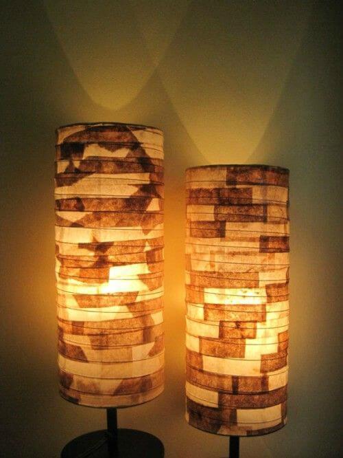 Luminárias decoradas com filtros de café