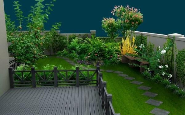 Paisagismo em jardim feito com grama sintética