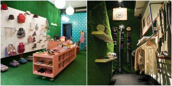Imagens mostrando lojas de roupas decoradas com grama sintética