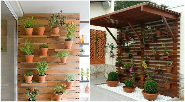 Imagens mostrando jardins verticais feitos com palete