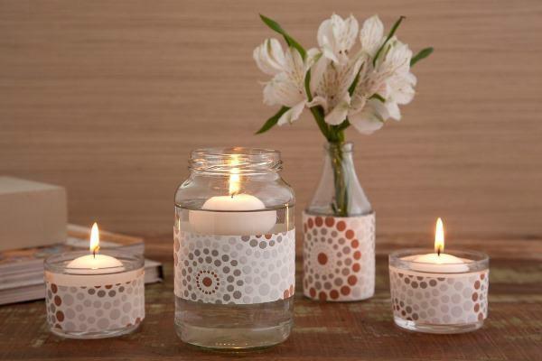 Porta-velas aromáticas com potes de vidro