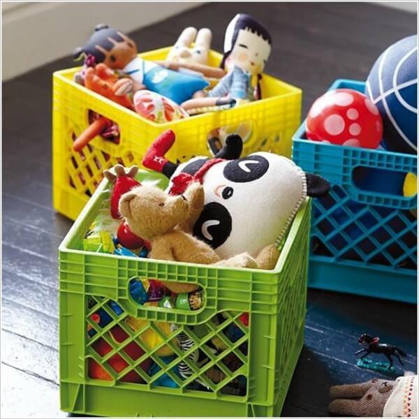 Caixas organizadoras para brinquedos infantis