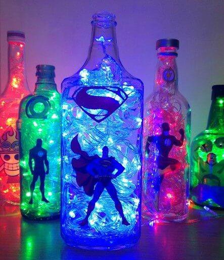 garrafas luminárias tema super heróis