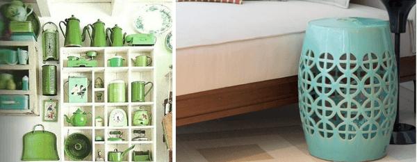 Decoração com objetos verdes