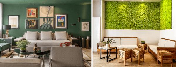 Decoração com paredes verdes