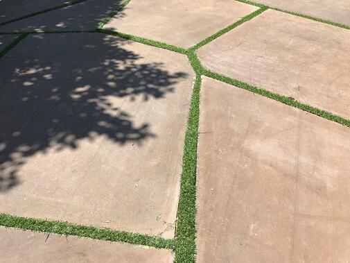 Piso de lajotas de concreto com grama sintética