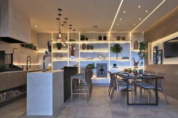 Área gourmet interna em apartamento
